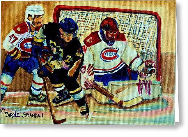 Goalie  And Hockey Art Greeting Card by Carole Spandau