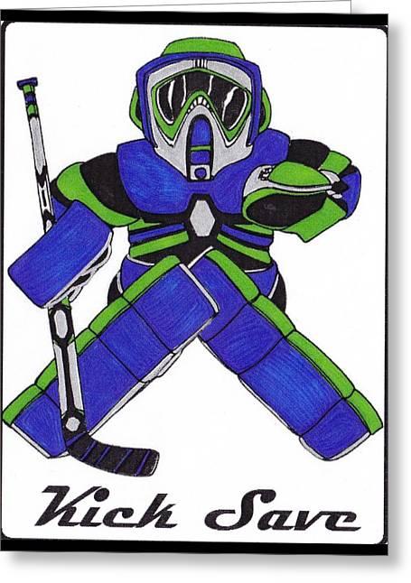 Goalie Blue Green Greeting Card