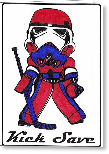 Goalie Red White And Blue Greeting Card