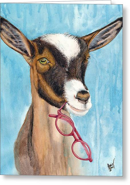 Goat Gets Glasses Greeting Card