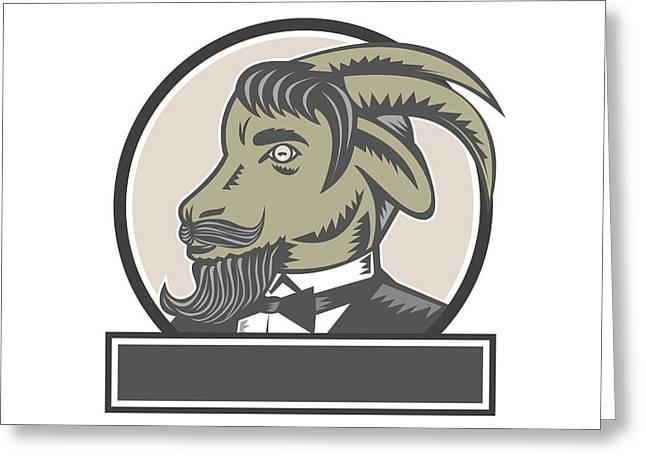 Goat Beard Head Circle Woodcut Greeting Card by Aloysius Patrimonio