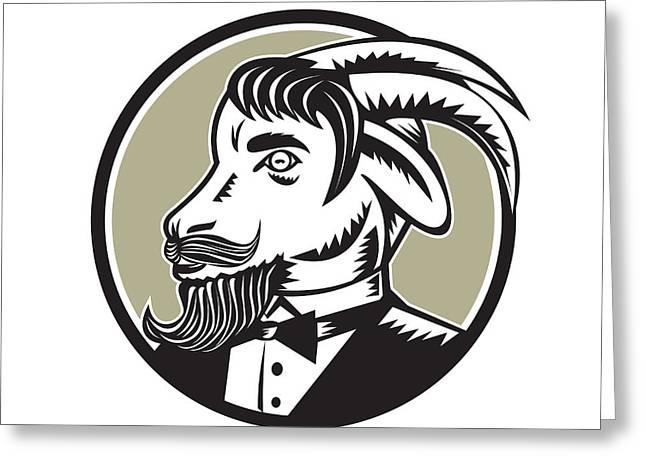 Goat Beard Tuxedo Circle Woodcut Greeting Card
