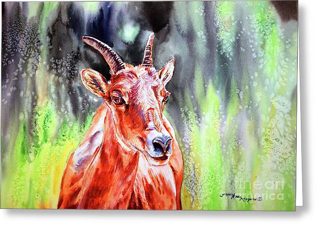 Goat From The Mountain Greeting Card by Tracy Rose Moyers