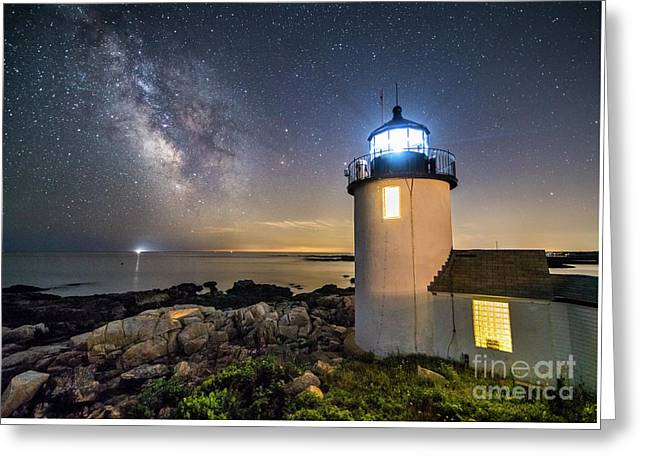 Goat Island Lighthouse At Night Greeting Card by Benjamin Williamson