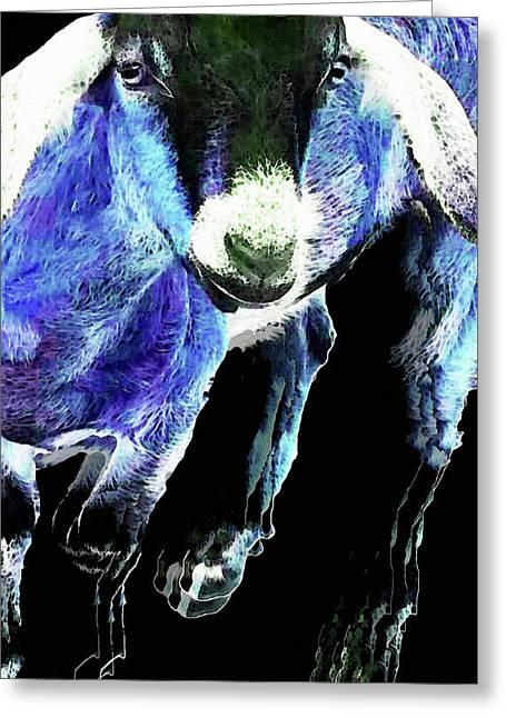 Goat Pop Art - Blue - Sharon Cummings Greeting Card by Sharon Cummings