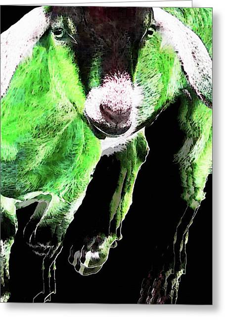 Goat Pop Art - Green - Sharon Cummings Greeting Card by Sharon Cummings