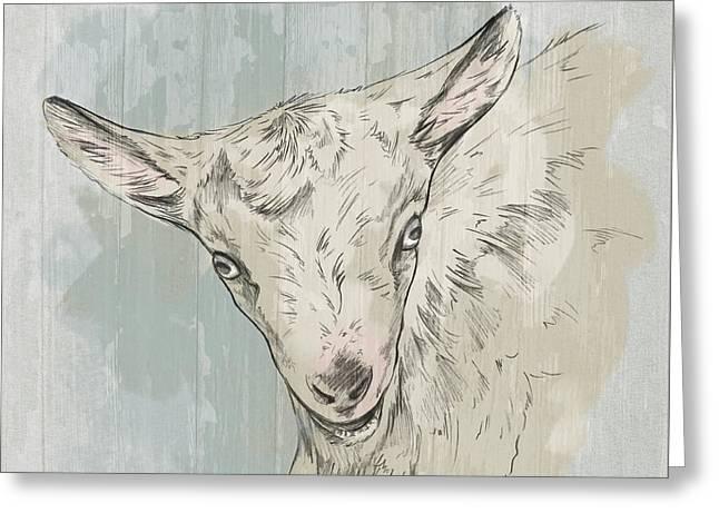 Goat Portrait-farm Animals Greeting Card