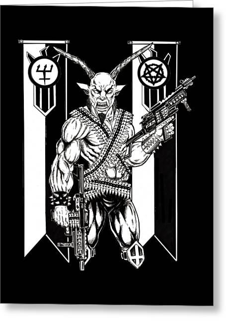 Goat War Black Greeting Card by Alaric Barca