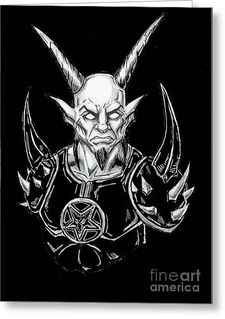 Goatlord Armor Black  Greeting Card by Alaric Barca