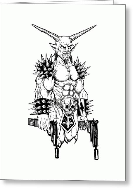 Goatlord Hit List White Greeting Card by Alaric Barca