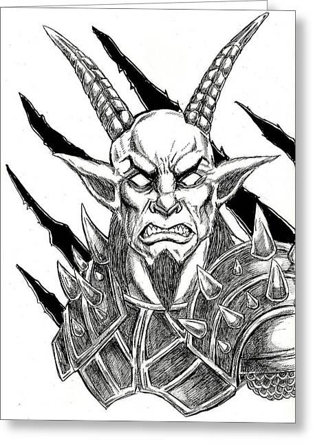 Goatlord Metal Claw Strike Greeting Card by Alaric Barca