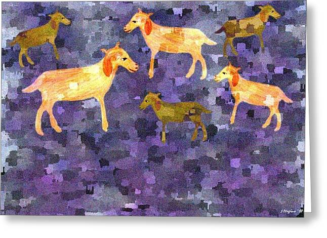 Goats In The Field Greeting Card by Sher Magins