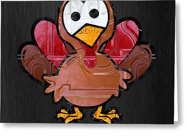 Gobble The Turkey Recycled Thanksgiving License Plate Art Greeting Card