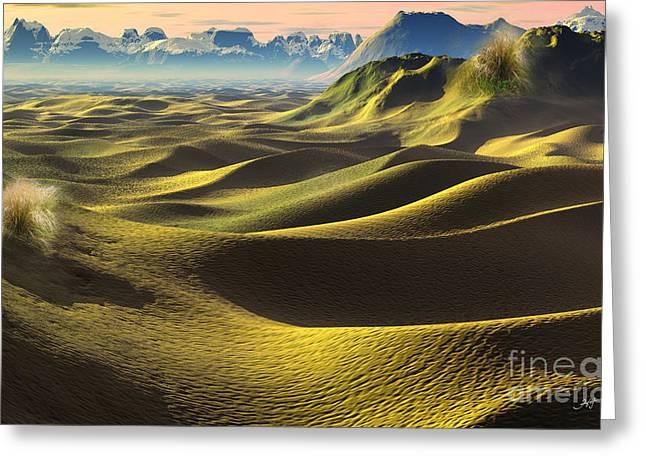 Dunes Mixed Media Greeting Cards - Gobi Desert - Dunes land Greeting Card by Heinz G Mielke