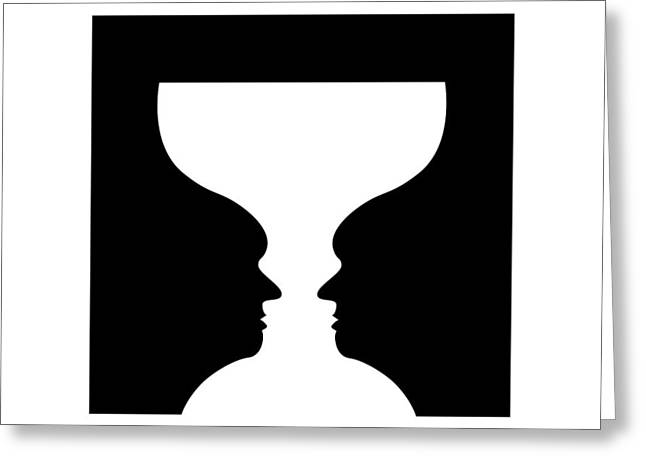 Tricks Greeting Cards - Goblet Illusion Greeting Card by
