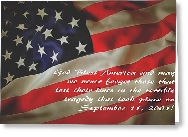 God Bless America September 11 2001 Greeting Card by Floyd Snyder