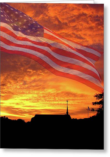 God Bless America Greeting Card by Adele Moscaritolo