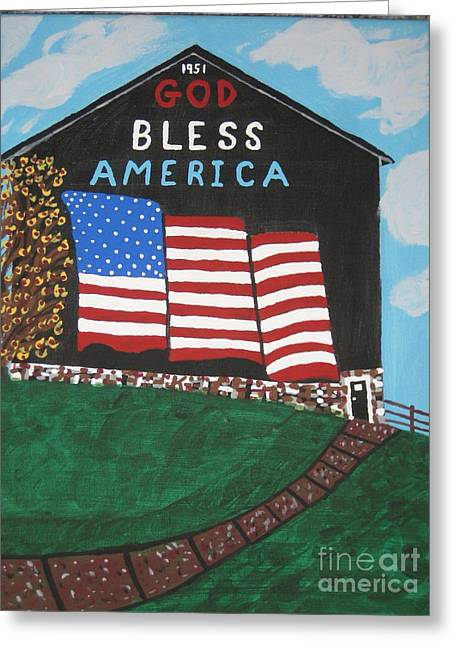 Greeting Card featuring the painting God Bless America Barn by Jeffrey Koss