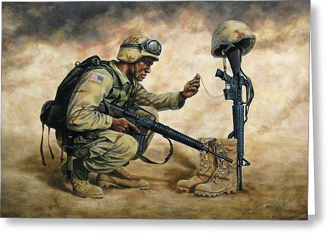 God Bless Our Troops Greeting Card by Dan  Nance