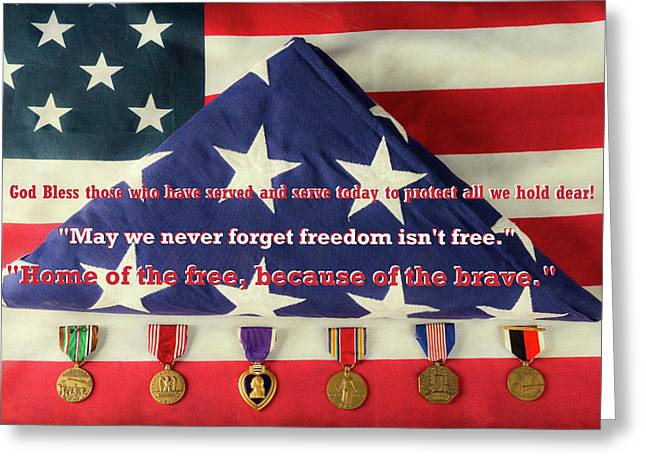God Bless Those Who Have Served And Serve Today Greeting Card by James BO Insogna