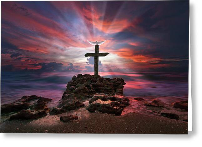 Greeting Card featuring the photograph God Is My Rock Special Edition Fine Art by Justin Kelefas