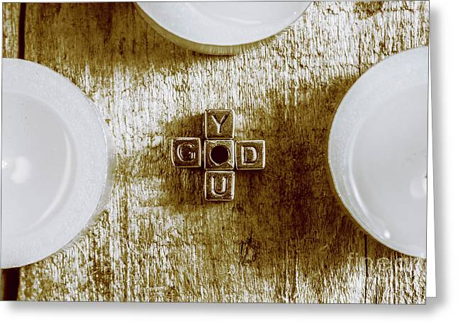 God Is You Metal Lettering Typography Near White Candles, Faith  Greeting Card by Jorgo Photography - Wall Art Gallery