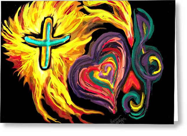 God Love Music Greeting Card by Susan Cooke Pena