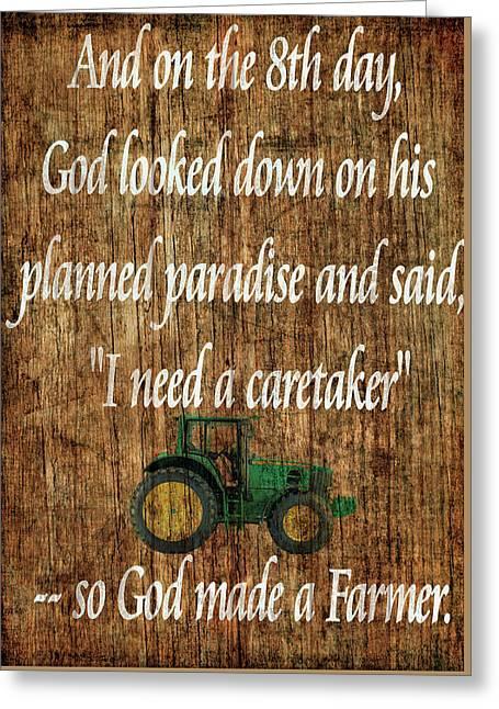 God Made A Farmer Barn Door Greeting Card by Dan Sproul