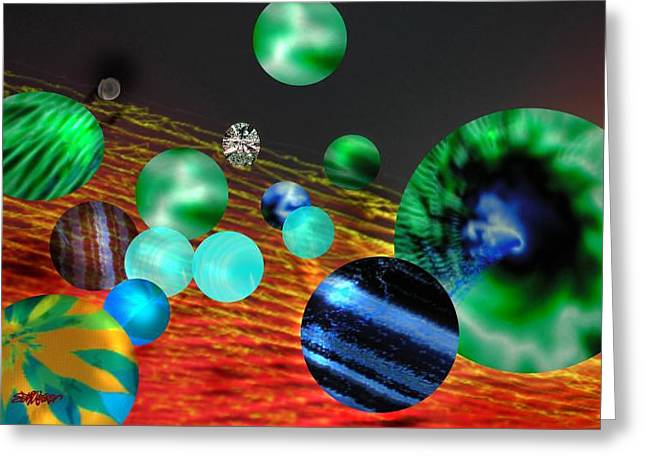 Greeting Card featuring the digital art God Playing Marbles Tribute To Donovan by Seth Weaver