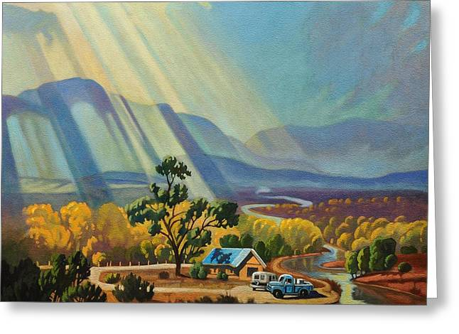 God Rays On A Blue Roof Greeting Card