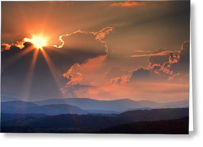 God Rays Over N C  Mountains Greeting Card