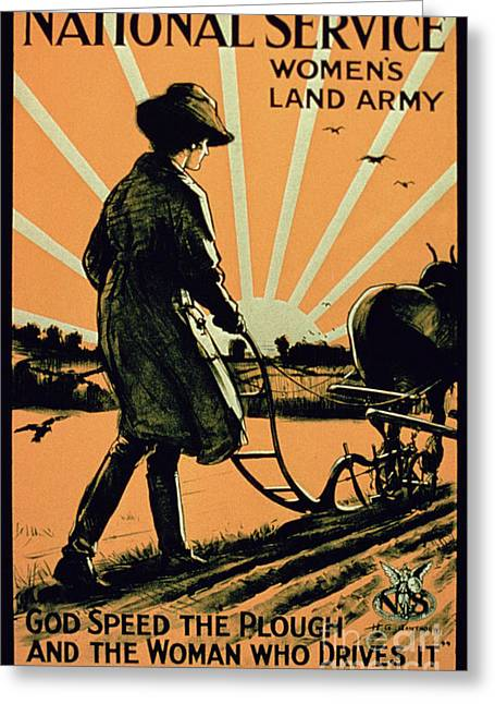 God Speed The Plough And The Woman Who Drives It Greeting Card by American School