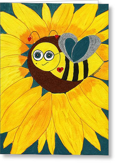 Winged Goddess Mixed Media Greeting Cards - Goddess Betty Bee Greeting Card by Christy Woodland