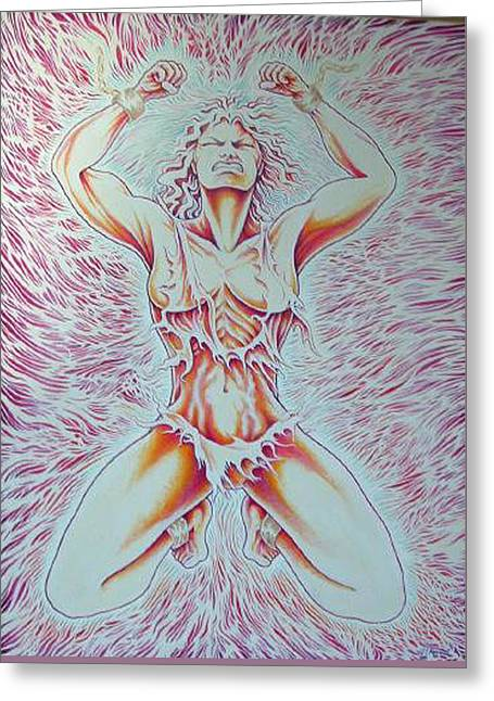 Goddess Breaking Chains Greeting Card