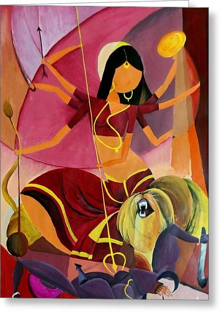Goddess Durga Greeting Card by Amrita M