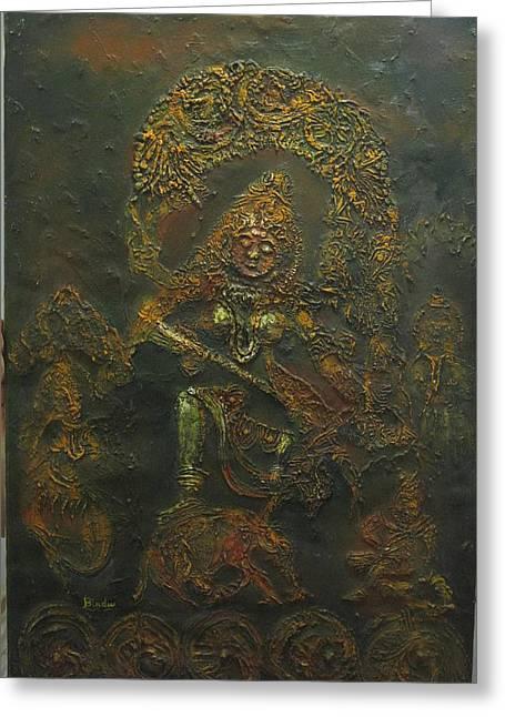 Goddess Kali Greeting Cards - Goddess Kali killing demon Greeting Card by Bindu Bajaj