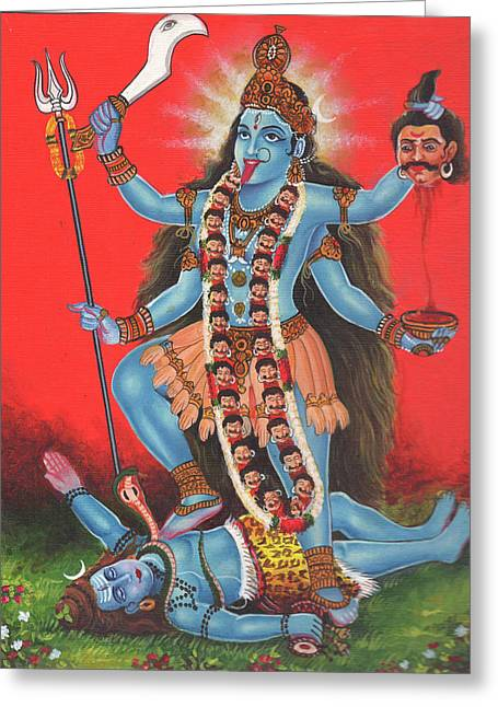 Goddess Kali Mata God Shiv,aadishakti, Miniature Painting Of India, Oil Painting, Artwork India. Greeting Card by M B Sharma