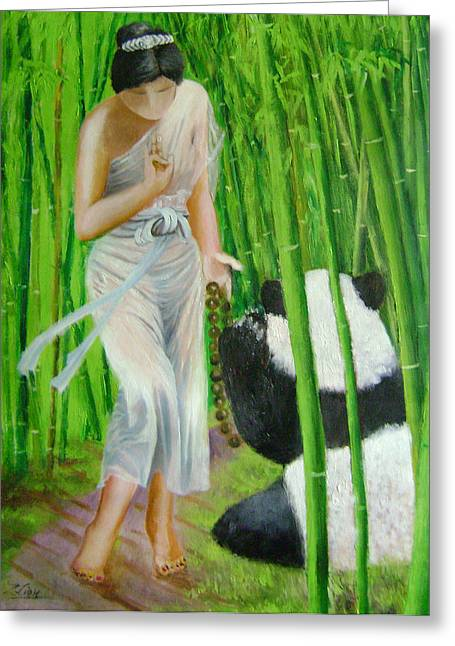 Goddess Of Mercy And Panda Greeting Card by Lian Zhen