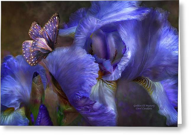 Irises Greeting Cards - Goddess Of Mystery Greeting Card by Carol Cavalaris