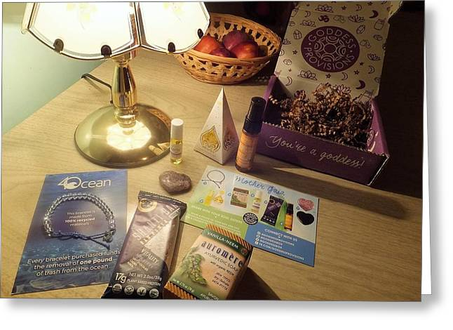 Greeting Card featuring the photograph Goddess Provisions Box For June 2017 by Denise Fulmer