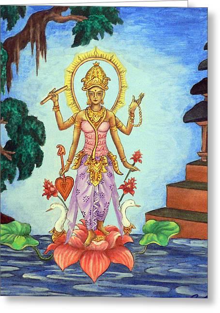 Hindu Goddess Paintings Greeting Cards - Goddess Saraswati Greeting Card by Alexandra Florschutz