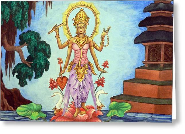 Goddess Saraswati Greeting Card by Alexandra Florschutz