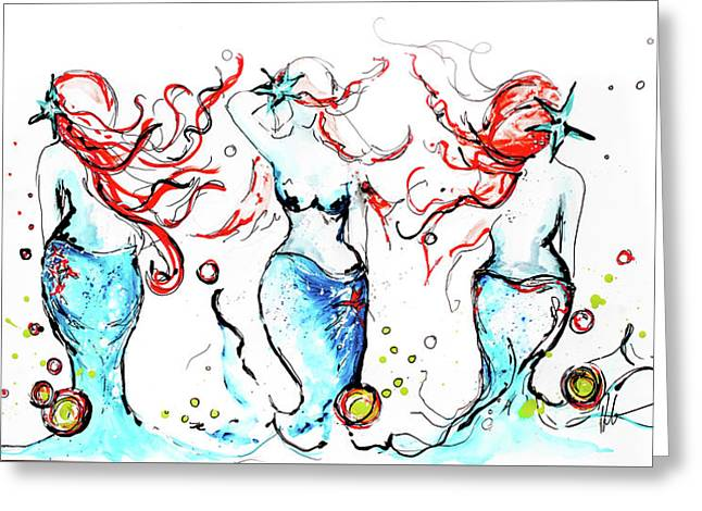 Goddesses Three Greeting Card by Reba Mcconnell