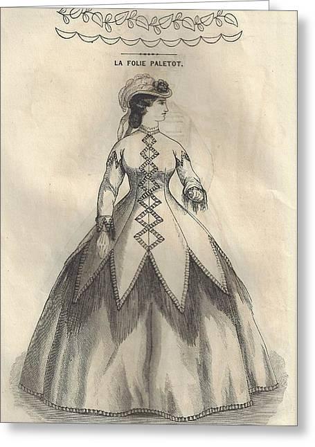 Godey 1865 - La Folie Paletot Greeting Card by Karen Szatkowski