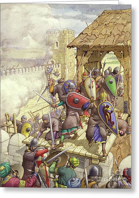 Godfrey De Bouillon's Forces Breach The Walls Of Jerusalem Greeting Card by Pat Nicolle