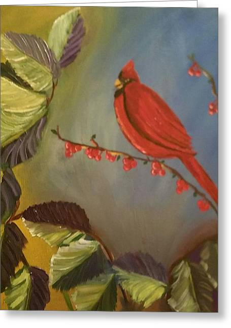 Gods Cardinal Promise Greeting Card by Diann Blevins