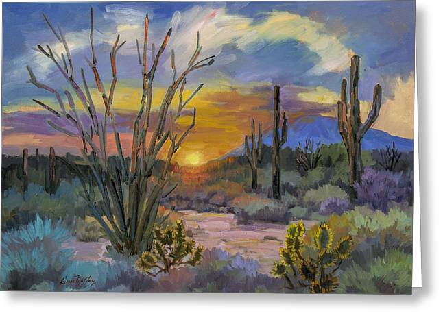 God's Day - Sonoran Desert Greeting Card by Diane McClary