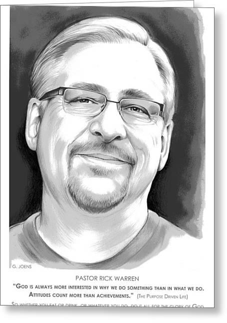 Pastor Rick Warren Greeting Card by Greg Joens