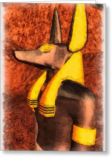 Gods Of Egypt - Anubis Greeting Card by Raphael Terra