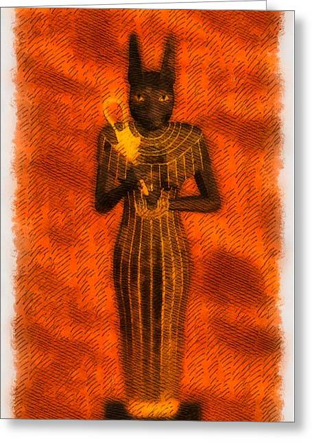 Gods Of Egypt - Bastet Greeting Card by Raphael Terra